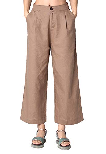 Ecupper Womens Linen Cotton Pants Cropped Wide Leg Casual Solid Loose Trousers 26