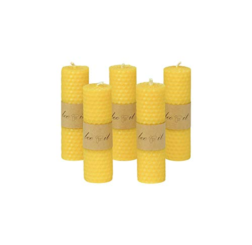 5 x Pure Beeswax Candles, Hand-Rolled Honeycomb Candles Box with Natural Beeswax Pillar Candles