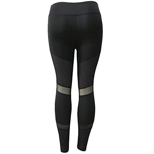 Wobuoke Women Fashion Workout Mesh Patchwork Hollow Leggings Fitness Sport Gym Yoga Athletic Pants Black ()