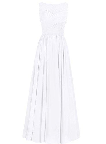 Ballkleider Brautjungfernkleid Chiffon Festkleider Linie Abendkleider A Lang Weiß Hochzeitskleider IdwwEq