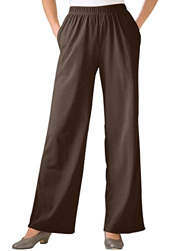 Woman Within Plus Size 7-Day Knit Wide Leg Pant - Chocolate, M