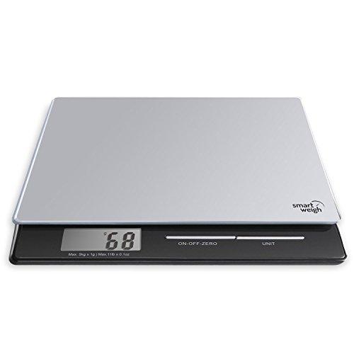 Smart Weigh professionelle digitale Küchen- und Briefwaage mit Hartglasplattform, mehreren Wiegemodi und Tara-Funktion, Silbern