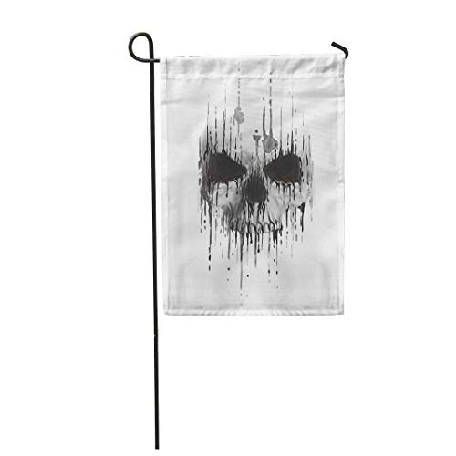 Tarolo Decoration Flag Watercolor Tattoo Skull Scary Human Face Horror Death Devil Halloween Drawing Thick Fabric Double Sided Home Garden Flag 12
