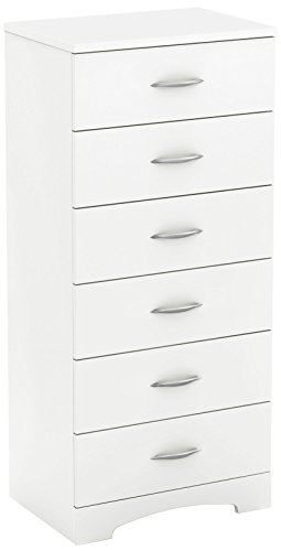 South Shore Step One 6 Drawer Lingerie Chest, Pure white (Tall Dresser Bedroom)