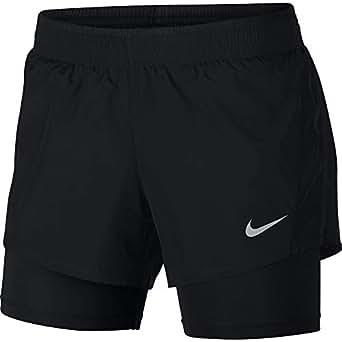 Nike Women's 10K 2-in-1 Running Shorts, Black/Black/Wolf Grey, XS