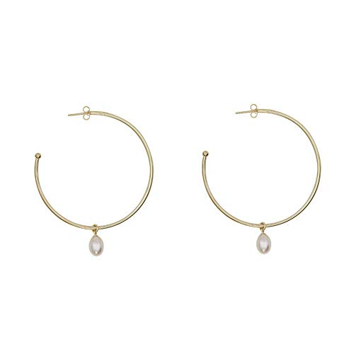 Large Round Hoop Earrings with Charm for Women Rounded Tube Circular Dangle Drop C-hoop (Golden)