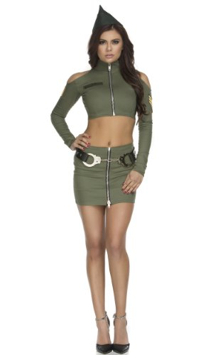 Forplay Women's Sultry Soldier Top and Skirt, Olive, Medium/Large (Sexy Soldier Costumes)