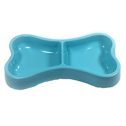 XiaoGao Dog Bowl Dog Food Candy Color Dog Food Bowl Durable Non-Slip Pet Double Bowl Plastic Cat Bowl Environmentally Friendly,Blue