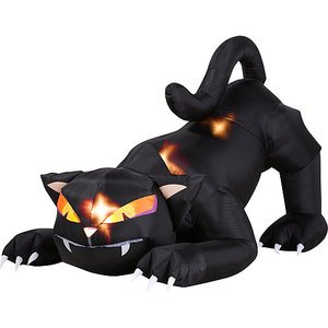 Halloween Decorations 6' Long Airblown Halloween Inflatable Animated Black Cat with Turning Head