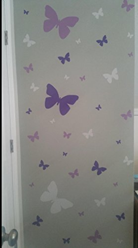 Butterfly Wall Decals- Girls Wall Stickers ~ Decorative Peel & Stick Wall Art Sticker Decals (Lilic,Lavender,White) by Create-A-Mural (Image #6)
