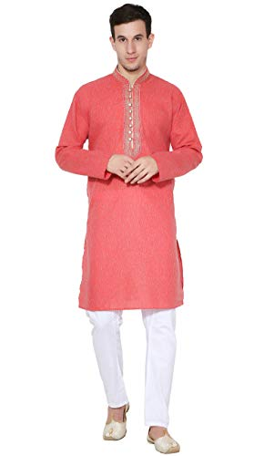 (SKAVIJ Men's Tunic Cotton Kurta Pajama Set Casual Dress (X-Large, Red))
