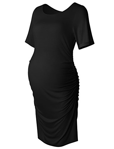 Women's Bodycon Maternity Dress Casual Short Sleeve Ruched Sides Knee Length Pregnant Dresses Black L