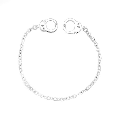 SpinningDaisy Silver Plated High Gloss Handcuffs Anklet Ankle Bracelet (10 Inches)
