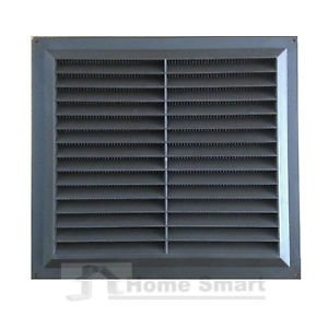 """9"""" x 9"""" Brown Plastic Louvre Air Vent Grille with Flyscreen Cover"""