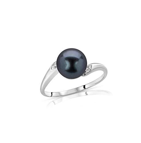 Regalia Black Akoya Cultured Pearl Ring in 14K White Gold with .02ct - White & Ring Pearl Black