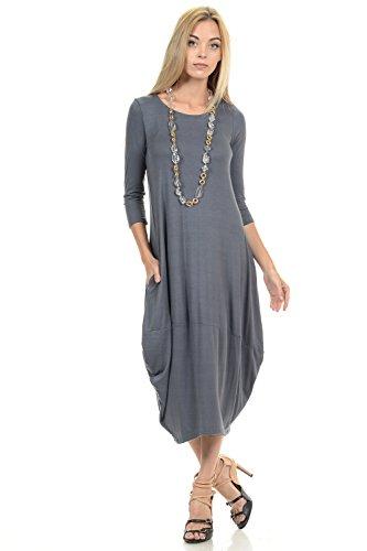 Pastel by Vivienne Women's Cocoon Midi Dress Large Cement (Pocket Bubble)