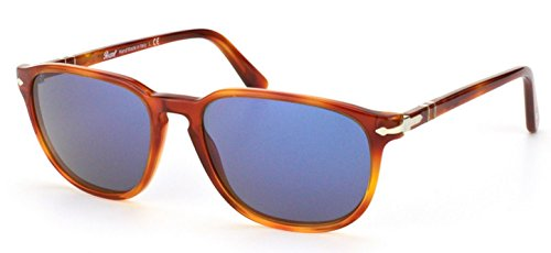 Persol Men's 0PO3019S 96/56 55 Square Sunglasses,Light Havana Frame/Blue Lens,One Size (Persol Sunglasses)
