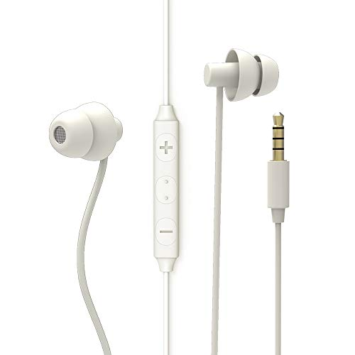 MAXROCK Sleep Earbuds, Ultra-Soft Comfortable Noise Isolating Earplugs Workout Headphones in-Ear Earphones w/Mic & Volume Control - Perfect for Side Sleeper Air Travel, Meditation & Insomnia(White)