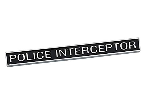 1Pc Police Interceptor Emblem, 3D Badge Truck Decal Nameplate Sticker Replacement for Ford(Chrome black)