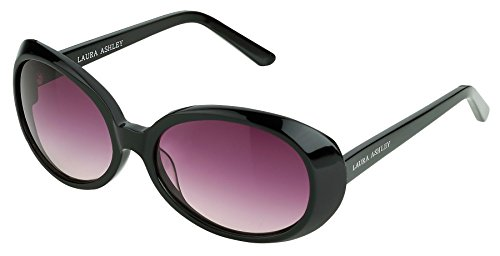 Laura Ashley Ladies Black Oversized Retro Vintage Round 58 mm Sunglasses Multiple Color - Victoria Sunglasses Beckham Oversized