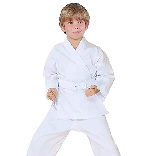 FLUORY Karate Uniform with Belt, White Karate Gi for Adult & Children Size 000-6