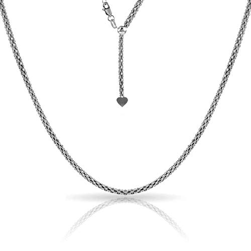 - Verona Jewelers Sterling Silver 1.5MM Adjustable Popcorn Bolo Chain for Women- Thin AdjustablePopcorn Necklace (Rhodium)