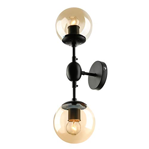 BAYCHEER Vintage 2 Bubble Globe Glass Shade Wall Sconce Wall Lighting Wall lamp use E26 Light Bulb Socket for Indoor Restaurant Barn