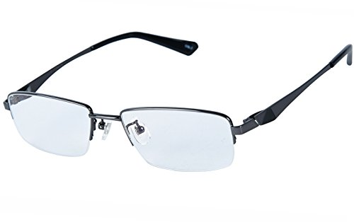 Agstum 100% Titanium Half Rimless Glasses Frame Optical Eyeglasses 53-18-140 (Gunmetal)