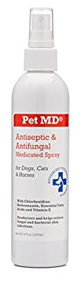 Pet MD - Antiseptic and Antifungal Medicated Spray for Dogs, Cats and Horses with Chlorhexidine, Ketoconazole, Essential Fatty Acids, Aloe and Vitamin E - 8 oz by PetMD