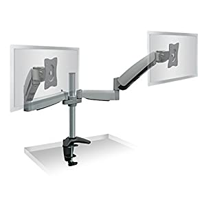 Mount-It! Monitor Desk Mount Dual Arm With Height Adjustable Gas Spring Arms For Two LCD Flat Screen Monitors, VESA 75 and 100 Compatible with 22, 23, 24, 27 inch Screens Full Motion, 39.6 lb Capacity
