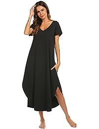 Sleepwear Women's Casual V Neck Nightshirt Short Sleeve Long Nightgown S-XXL