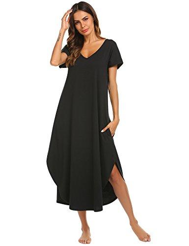 Ekouaer Women's Soft Sleepwear Casual V Neck Nightshirt Short Sleeve Sleep Dress with Side Spilt (Black,M)