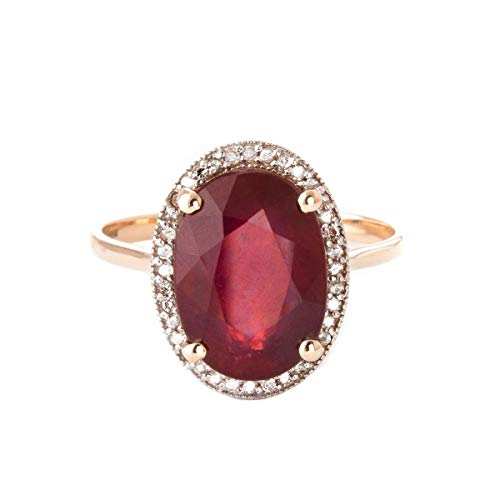 (Galaxy Gold7.93 Carat 14k Solid Rose Gold Ring with Natural Oval-Shaped Ruby and Genuine Diamonds - Size 5.5)