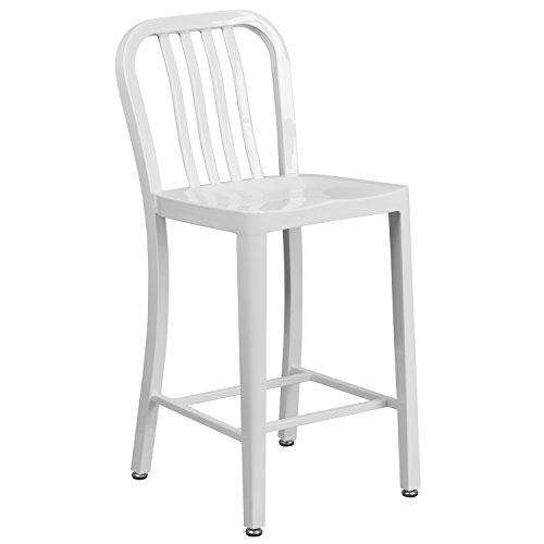 Flash Furniture 24 High White Metal Indoor-Outdoor Counter Height Stool with Vertical Slat Back