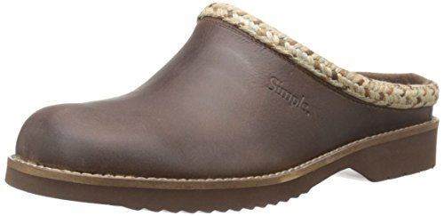Simple Women's Hallie Mule, Dark Brown Leather, 6.5 M US