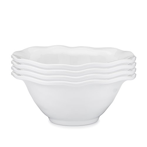 Q Squared Ruffle in Round BPA-Free Melamine Round Cereal Bowl, 6-1/2 Inches, Set of 4, White