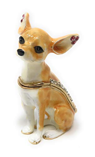Kubla Crafts Enameled Tan and White Chihuahua Trinket Box, Accented with Austrian Crystals, 2.25 Inches Tall ()