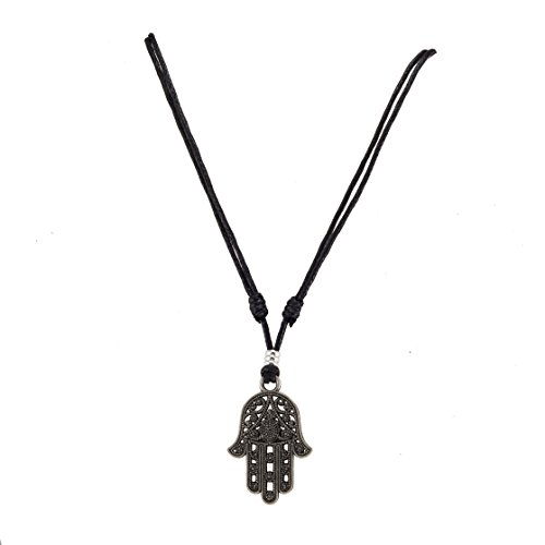Hamsa Hand of Fatima Pendant on Adjustable Black Rope Cord Necklace