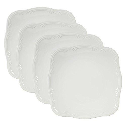 - Pfaltzgraff Filigree Square Dinner Plate (10-Inch, Set of 4), White