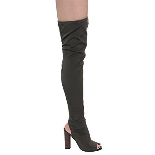 Beston FG20 Damen Stretchy Overknee Peep Toe Stacked Heel Stiefel Olive
