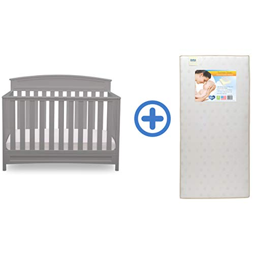 Delta Children Sutton 4-in-1 Convertible Baby Crib & Twinkle Stars Waterproof Fiber Core Crib and Toddler Mattress, Grey