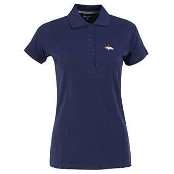NFL Women's Denver Broncos Spark Short Sleeve Polo (Navy, Small)
