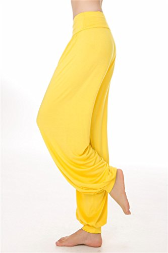 Yoga Spandex Loose da Leggings e morbido Pantaloni Fit donna o SIMYJOY Yellow Lunghi Modal per Pilates aFqpwg