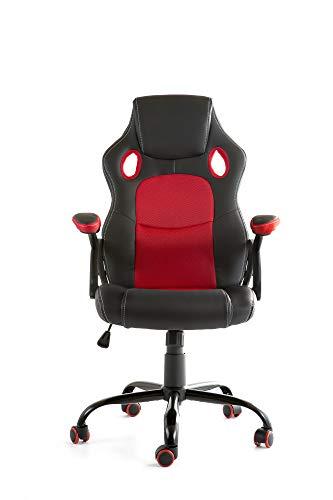 CAMBIA TUS MUEBLES – Chaise Gaming X-One Fauteuil pivotant de bureau bureau bureau en noir rouge bleu et gris (rouge)