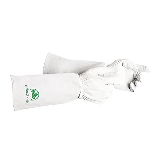 Premium Leather Gardening Gloves | Thorn and Cut Proof Gardening Gauntlets Suitable For Thorny Rose Pruning and Yard Work | Breathable Hand Protection and Extra Long Cowhide Cuff(Med)