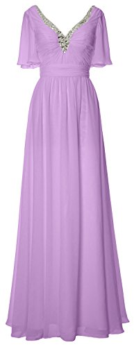 Neck Dress of Formal Chiffon Mother Evening Gown the V Long Women MACloth Lavendel Bride wFzEF