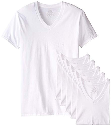 Fruit of the Loom Men's Tucked V-Neck T-Shirt (White, Large Tall)