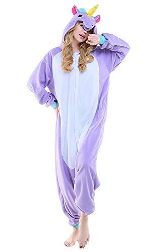 Women's Sleepwear Adult Unicorn Onesie Pajamas Cosplay Costumes Anime Outfit Christmas Costume (Medium,Purple) ()