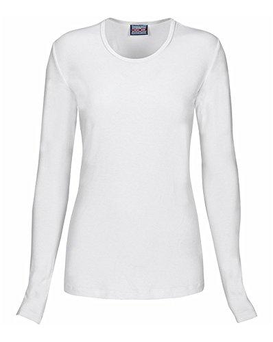 Cherokee Women's Long Sleeve Knit Shirt, White, X-Large