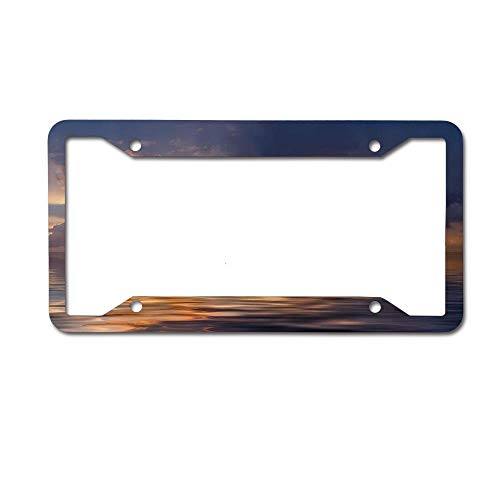 CardlyPhCardH Lonely Boat and Bird Against a Sunset at Ocean with Majestic Clouds in Sky Aluminum Metal License Plates for US Cars, Car Tag for Women/Men, 12 x 6 Inches 4 Holes. ()